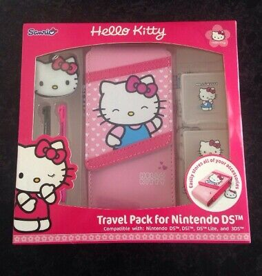 Hello Kitty Pink Nintendo DS Lite/DSi/DSi/3DS/3DS Travel Pack Carry Case Set