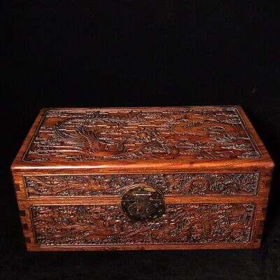 "16"" Chinese old Antique huanghuangli wooden handcarved Dragon and Phoenix box"