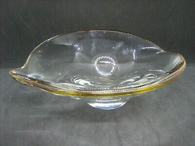 Vintage heavy glass art glass Murano? bowl amber tinted leaf shaped