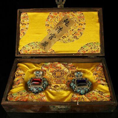 Chine antique qing Cloisonne Gem inlay Pendant a pair with dragon wood box