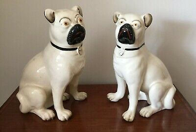 Superb Pair Of Large Antique Victorian Staffordshire Pug Dogs