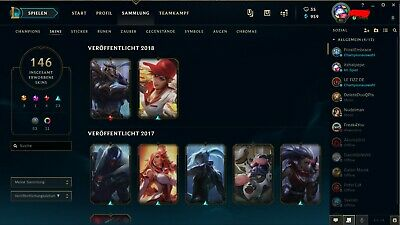 League of Legends Lvl80+ Account EUW Gold All Champs 143 Skins Season 1