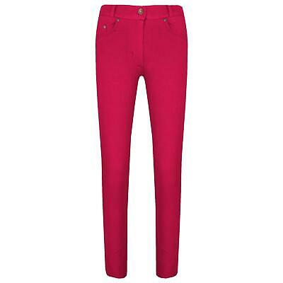 Girls Skinny Jeans Kids Cerise Stretchy Denim Jeggings Fit Pants Trousers 5-13Yr