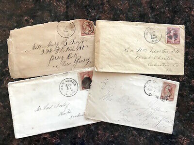 4 antique stamped envelopes 1884-1887