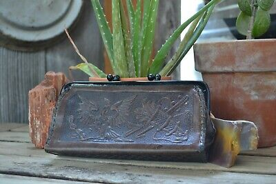 beautiful Vintage MEXICO tooled leather Double pocket Clutch Purse Wallet