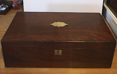 Victorian Mahogany Writing Slope With Brass Countersunk Handles