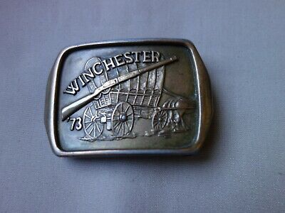 Vtg Old Rare Rifle Gun Winchester 73 With Western Covered Wagon Belt Buckle