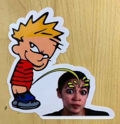 Calvin Pee On AOC Spoof Funny Sticker Decal TRUMP 2020