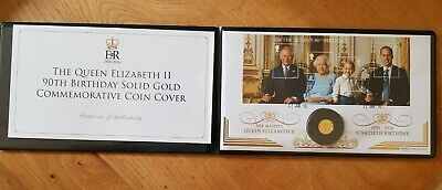 2016 THE QUEEN ELIZABETH II 90th BIRTHDAY COMMEMORATIVE 9ct GOLD COIN COVER.
