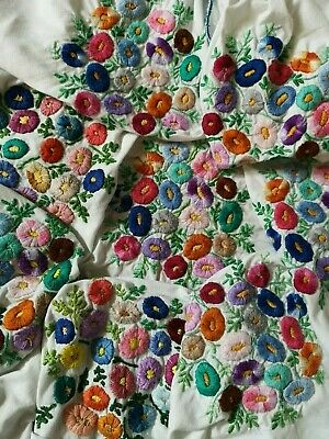 Large Vintage Hand Embroidered Posies Floral Flower Tablecloth For Repurposing
