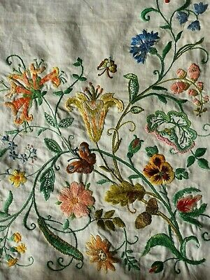 Beautiful Vintage Hand Embroidered Tablecloth To Finish Honeysuckle Cornflowers
