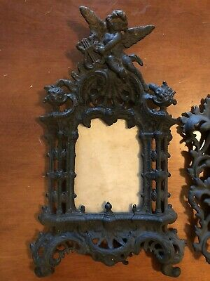 Pair Antique Wilton Cast Iron Standing Picture Frames Heavy Scrollwork Cherub