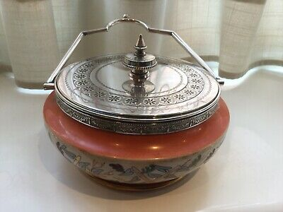 Superb Antique Daniel And Arter Silver Plated And  Ceramic Preserve Dish