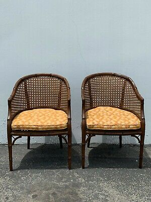 2 Bamboo Chairs Cane Set of Armchairs Chinese Chippendale Wood Regency Hollywood