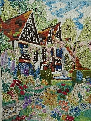 Vintage  Embroidered  Detailed English Country Cottages + Garden Picture