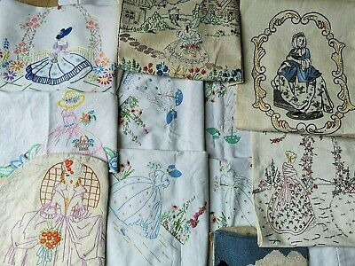 8 Vintage Embroidered Crinoline Lady Ladies Repurposing Tablecloth Tea Pot Cover