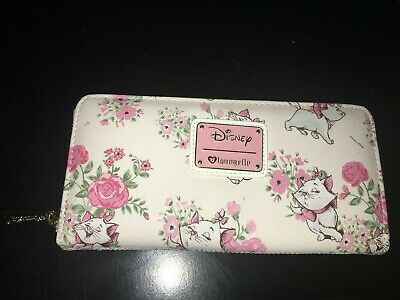 Loungefly X Walt Disney The Aristocats Marie Pink Rose Floral Zip Wallet CLEAN
