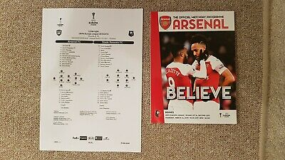 Arsenal V Rennes Match Programme and Teamsheet  Last 16 Europa League Played...