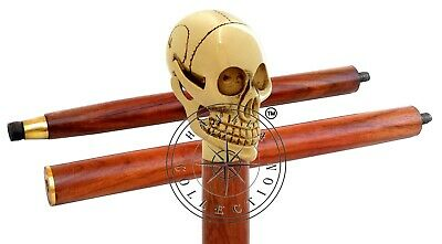 Handmade Solid Brass Skull Head Handle Wooden Walking Stick Antique Shaft Cane