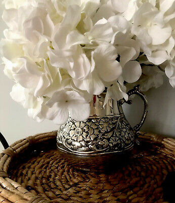 Metal Squatty Pitcher Victorian Style Home Decor Water Jug Flowered-aged Vase