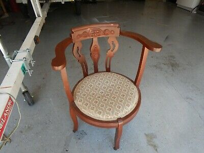 Antique Chair With Embossed Back Tapestry Seat And Wooden Rollers