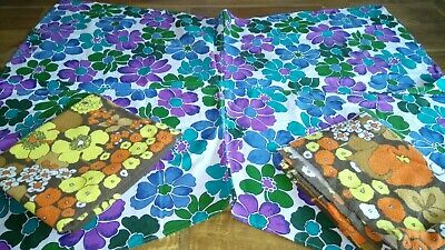 Three x Vintage 60s 70s Retro Kitsch Blue Purple & Floral Orange Brown Fabrics