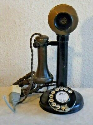English Dialer Candlestick Telephone with Cloth Braided Cording & Orig Receiver