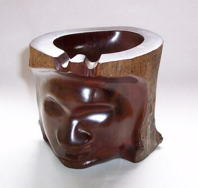 Vintage  EBONY Wood LOG Carved WOODEN HEAD ASHTRAY Trinket Dish - Treen
