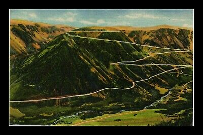 Us Linen Postcard Switchbacks Climbing Beartooth Mt To Yellowstone National Park
