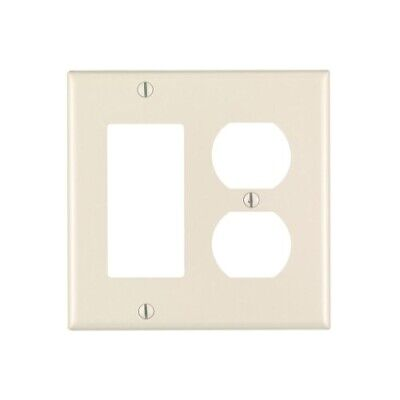 Leviton 2-Gang Smooth Plastic Single Rocker/Duplex Outlet Wall Plate, Light Almo