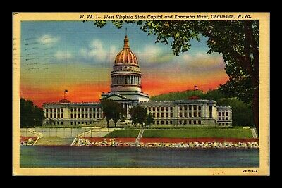 Us Linen Postcard State Capitol & Kanawha River Charleston West Virginia