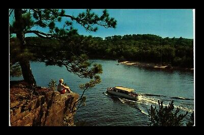 Us Postcard Overlooking Tourist Boat At Wisconsin Dells On Beautiful Summer Day