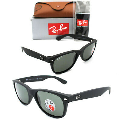 New Authentic Ray-Ban RB2132 622/58 55mm Rubber Black Frame Green Polarized Lens