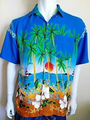 PIDOZA by Family vintage mens size XL shirt Hawaiian beach print retro 1980s