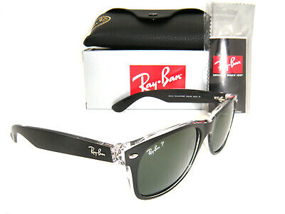 Authentic Ray-Ban RB2132 605258 55mm Top Black on Transparent Green Polarized
