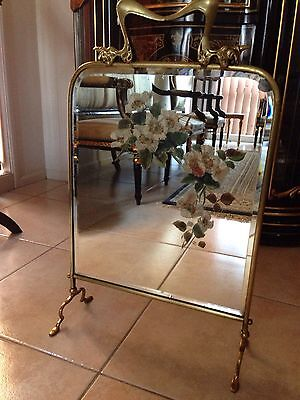 Mirror Vintage Fire screen rare Old Art Nouveau mirrored brass