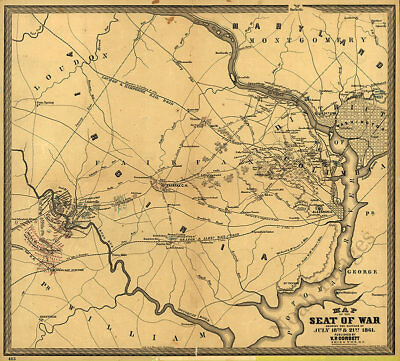 Map of the seat of war showing the battles Virginia c1861 22x20