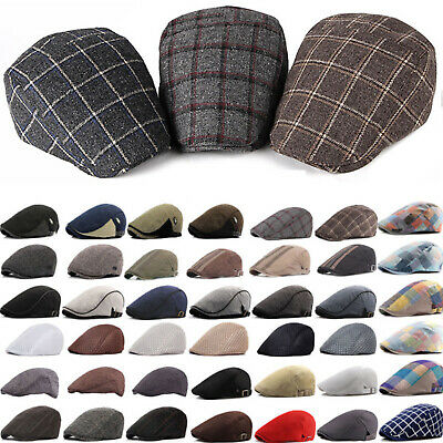 Men's Newsboy Gatsby Ivy Cap Golf Driving Biker Flat Duckbill Beret Casual Hats