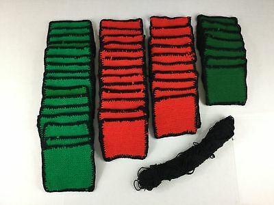 """46 Afghan Squares Christmas Hand Knitted DIY Red Green Black 7""""x6"""" Each"""