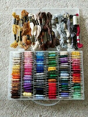 Huge DMC Lot 147 Cards and 22 Needlepoint Embroidery Thread Floss Skeins & Case