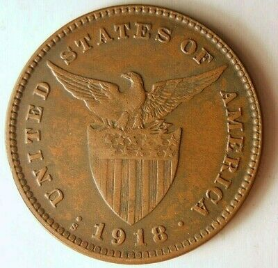 1918 PHILIPPINES CENTAVO - AU - Hard to Find Coin - Lot #718