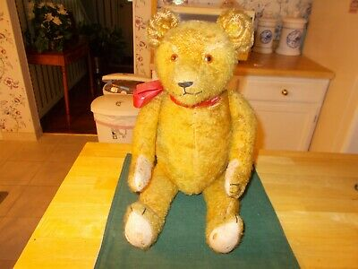 1920S Or 1930S American Teddy Bear Gold In Color Fully Jointed Humped Back Cute