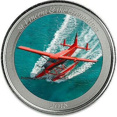 2018 St Vincent & Grenadines Seaplane E8 1 Ounce Pure Silver Colorized Series !