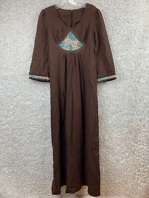 Vtg Rae Dolls Size 13 Dress Embroidered Brown Cotton Long Conservative Dress