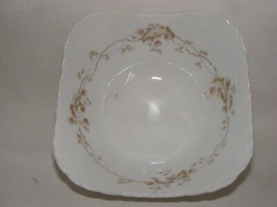 "Antique Austrian China 6.25"" square Soup Bowl Strawberry Garland Raised Scroll"