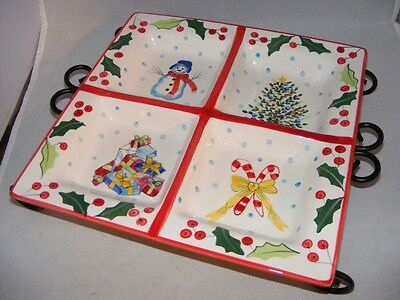 "Block  Christmas Basics Whimsey 12"" Handpainted  Tidbit Tray with Stand 2003"