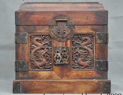 Old Chinese Boxwood Wood Carving Dragon Dragons Jewelry Box Casket Drawer Boxes