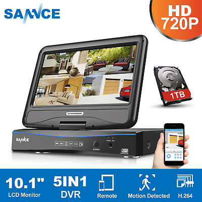 "SANNCE 5in1 8CH 1080N Video 10.1"" Built-in Monitor DVR CCTV Security System 1TB"