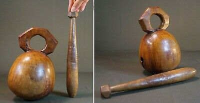"""Large Antique Korean Buddhist Clergy Wooden Percussion """"MokTop"""" Great Sound"""