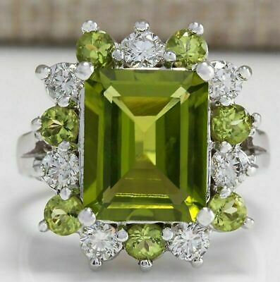 Women Fashion White Gold Princess Cut Peridot Ring Proposal Jewelry Sz 6-10